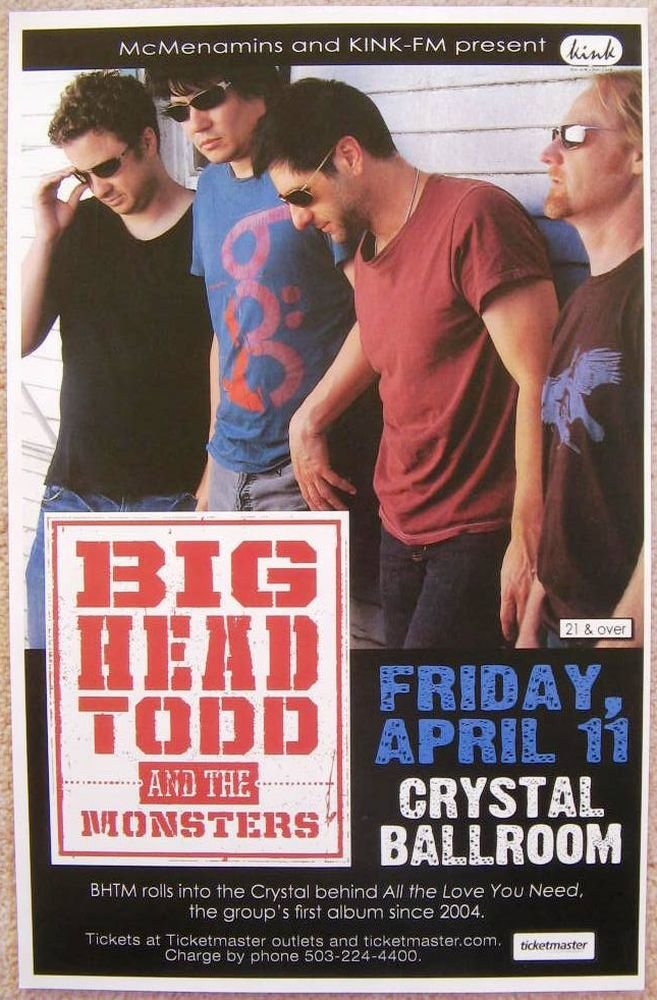 Image 0 of BIG HEAD TODD AND THE MONSTERS 2008 Gig POSTER Portland Oregon Concert