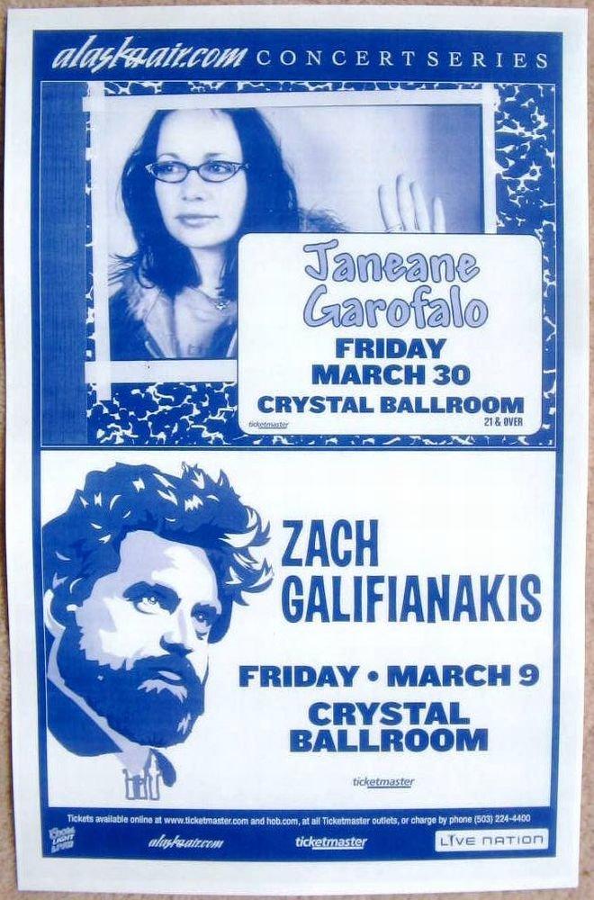 Garofalo JANEANE GAROFALO & ZACH GALIFIANAKIS 2007 Gig POSTER Portland Oregon