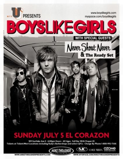 Image 0 of BOYS LIKE GIRLS 2009 Gig POSTER Seattle Washington Concert