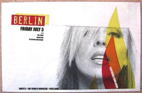 Image 0 of BERLIN TERRI NUNN 2009 Gig POSTER Portland Oregon Concert