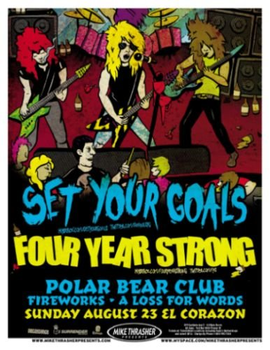 Image 0 of SET YOUR GOALS / FOUR YEAR STRONG 2009 Gig POSTER Seattle Washington Concert