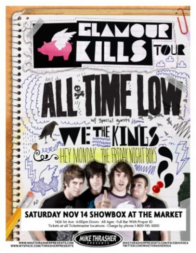Image 0 of ALL TIME LOW 2009 Gig POSTER Seattle Washington Concert