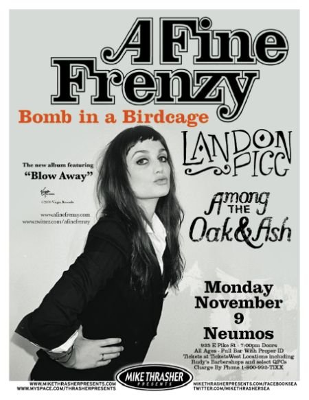 A FINE FRENZY 2009 Gig POSTER Alison Sudol Seattle Washington Concert