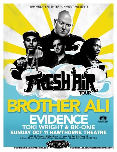 BROTHER ALI Portland Oregon 2009 Gig Concert POSTER