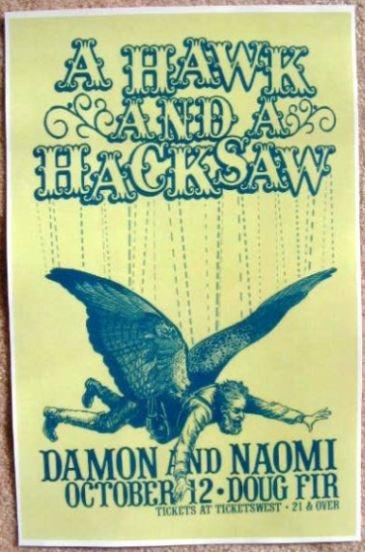 A HAWK AND A HACKSAW 2009 Gig POSTER Portland Oregon Concert