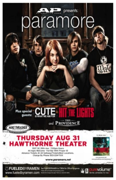 Image 0 of PARAMORE Hayley Williams (17 yrs old) POSTER 2006 Portland Oregon Gig Concert