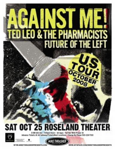 AGAINST ME! 2008 Gig POSTER Portland Oregon Concert