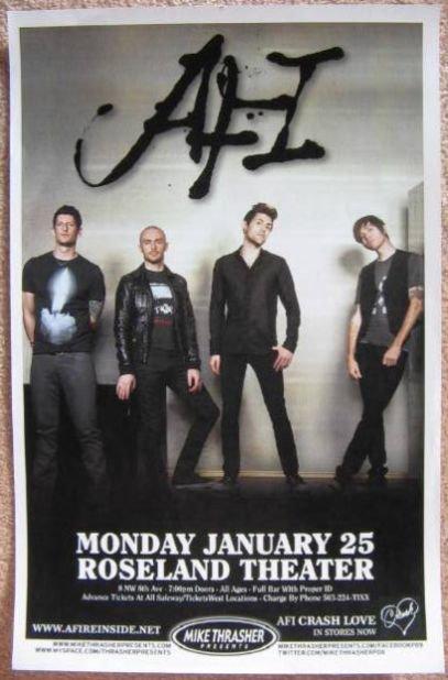 AFI 2010 Gig POSTER Portland Oregon Concert