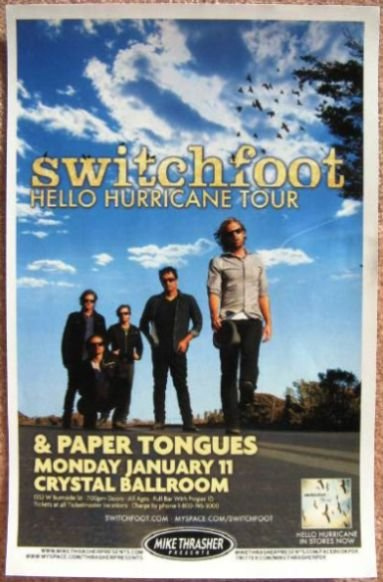 Image 0 of SWITCHFOOT Portland Oregon 2010 Gig Concert POSTER