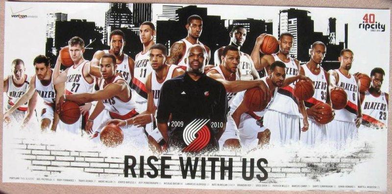 Portland Trailblazers 2009-10 Blazers Game Handout TEAM POSTER Brandon Roy Oden