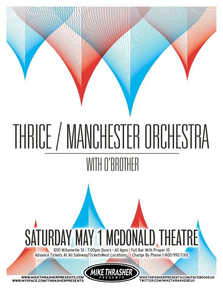 Image 0 of THRICE & MANCHESTER ORCHESTRA Gig POSTER 2010 Eugene Oregon Concert