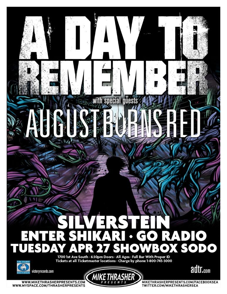A DAY TO REMEMBER 2010 Gig POSTER Seattle Washington Concert