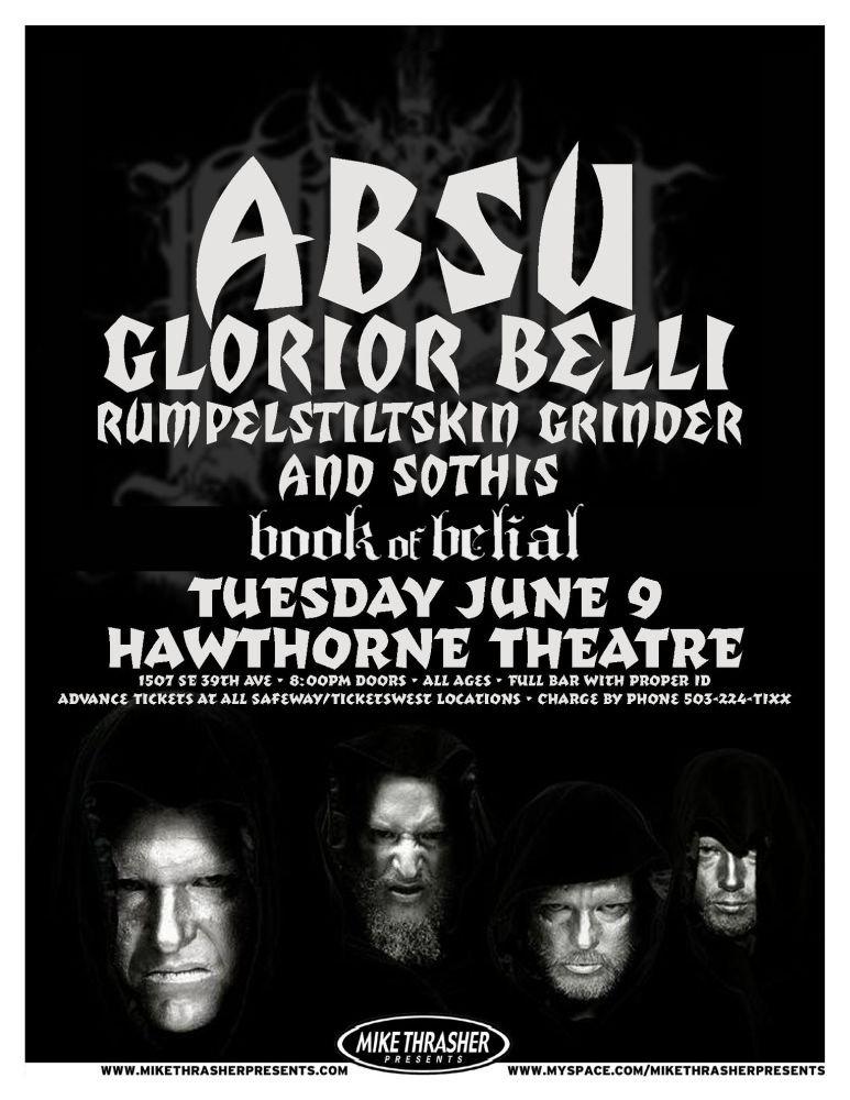 ABSU 2009 Gig POSTER Portland Oregon Concert