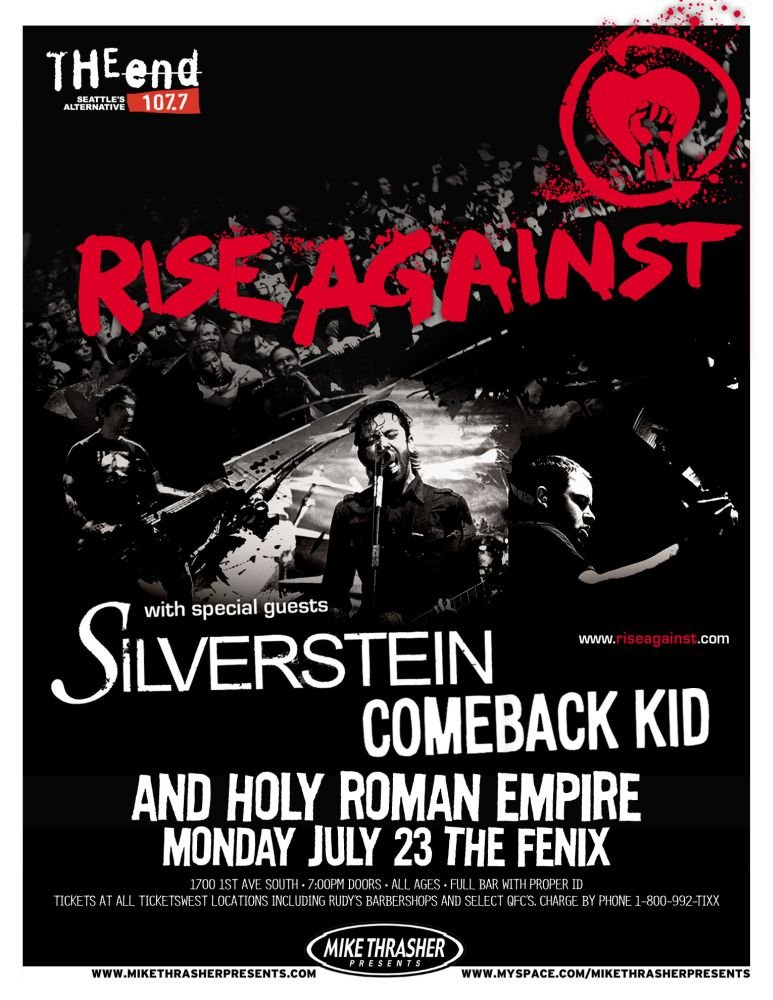 Image 0 of RISE AGAINST 2007 Gig POSTER Seattle Washington Concert