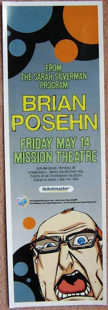 Image 0 of Posehn BRIAN POSEHN 2010 Gig 5x17 POSTER Portland Oregon Comedy