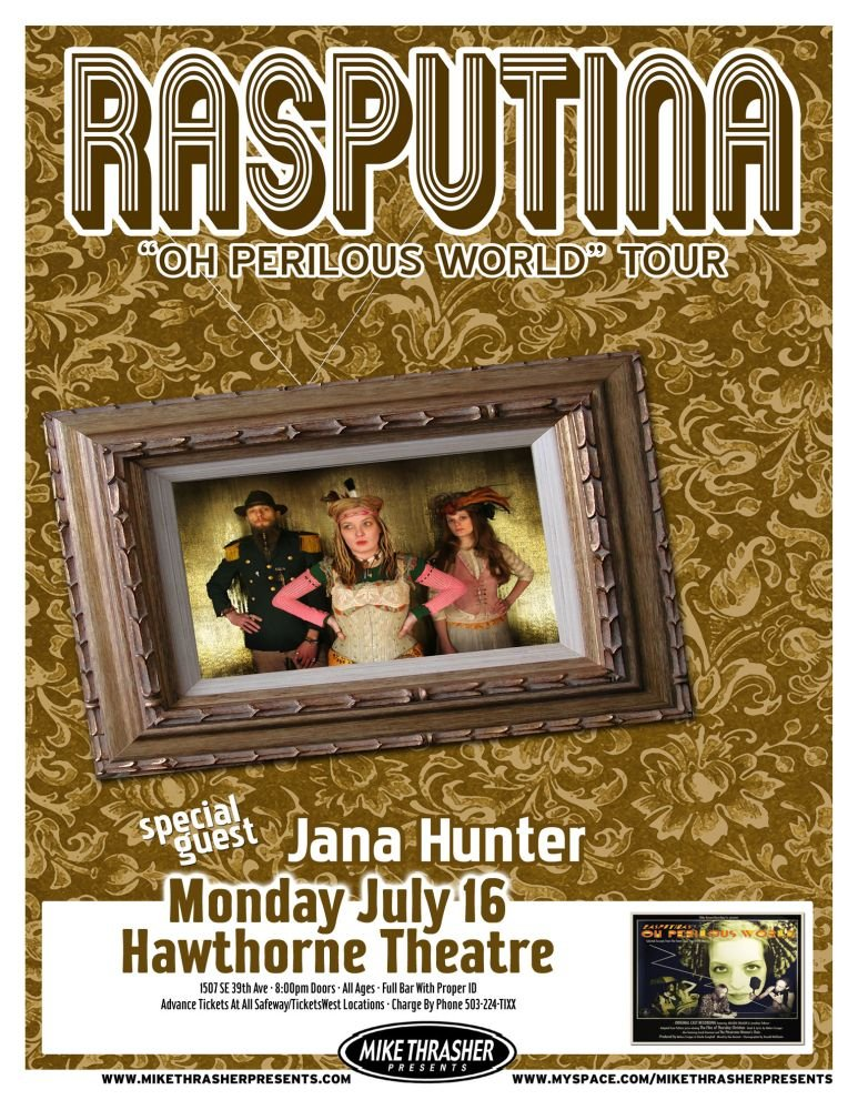 Image 0 of RASPUTINA 2007 Gig POSTER Portland Oregon Oh Perilous World Tour Concert