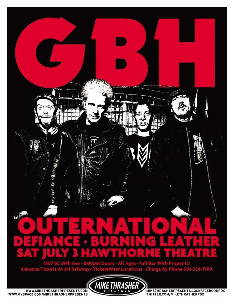 GBH 2010 Gig POSTER Portland Oregon Concert