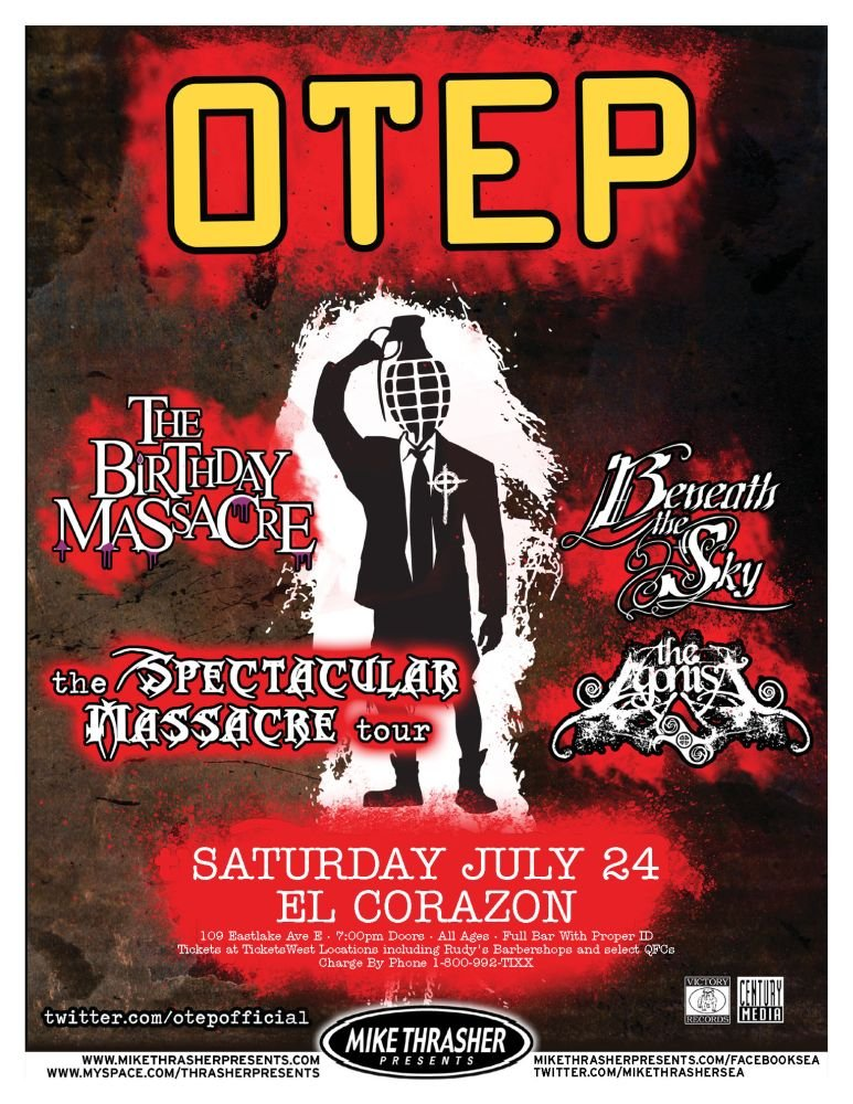 Image 0 of OTEP 2010 Gig POSTER Seattle Washington Concert