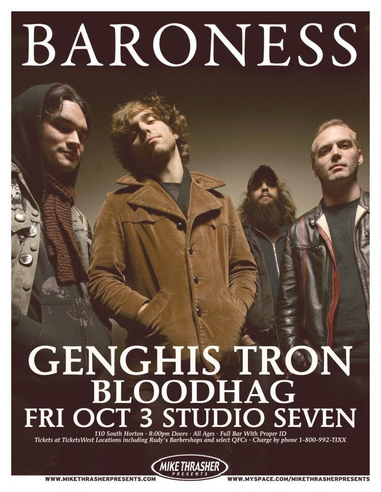 Image 0 of BARONESS 2008 Gig POSTER Seattle Washington Concert