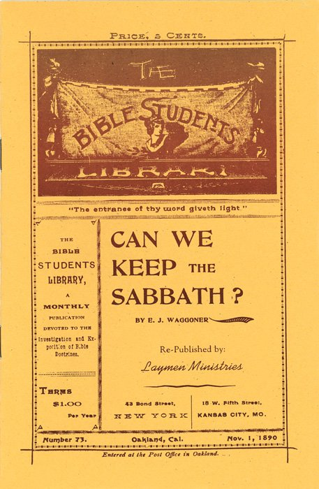 Can We Keep the Sabbath   E. J. Waggoner  Booklet