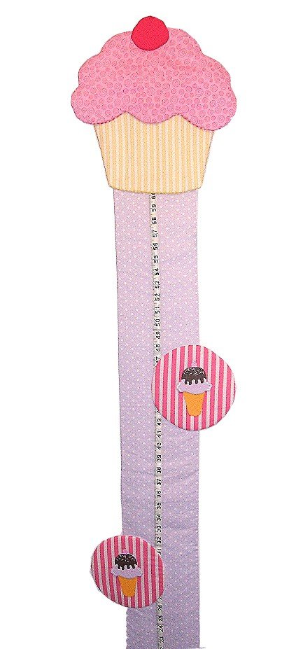 Image 1 of Cupcake Growth Chart Personalized Kids Fabric Art Designs Decor Growth Charts