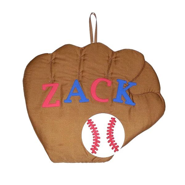 Image 0 of Baseball Glove Personalized Kids Fabric Art Designs Decor Growth Charts