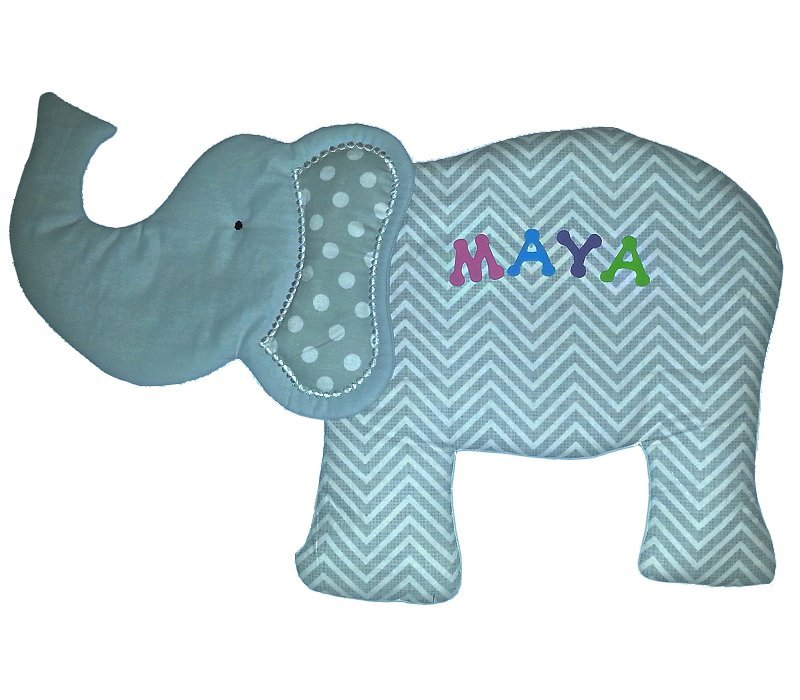 Image 0 of Elephant Personalized Kids Fabric Art Designs Decor Growth Charts