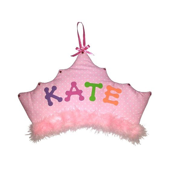 Image 0 of Princess Crown Personalized Kids Fabric Art Designs Decor Growth Charts