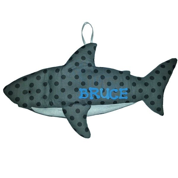 Image 0 of Shark Personalized Kids Fabric Art Designs Decor Growth Charts