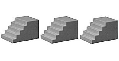 Image 0 of Pikestuff HO Scale Concrete Steps (3) 541-1010