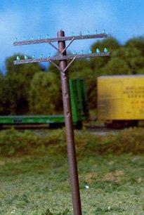 Rix HO Railroad Telephone Poles 2 Crossarm Kit #628-0032