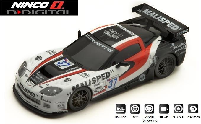NINCO 1 N-Digital Corvette Z06 GT3 MALISPED 1/32 Slot Car #55047 - MINOR DAMAGE