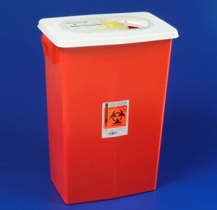 Image 0 of Sharps Container 8 Gl Red W/Sliding Lid 10 In Each: Case, One: Case