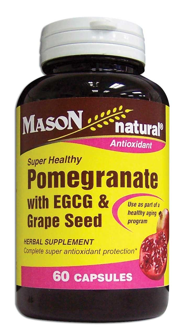 Image 0 of Pomegranate With Egcg & Grape Seed Herbal Supplement Capsules 60