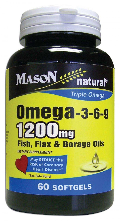 Image 0 of Omega 3-6-9 1200mg Triple Omega Fish Flax & Borage Oils Softgels 60
