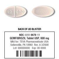 Gemfibrozil 600 Mg Tabs 500 By Teva Pharma.