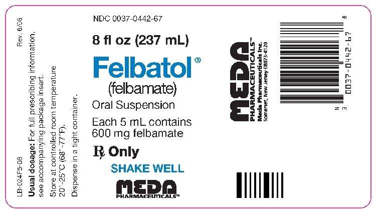 Felbatol 600mg/5ml Suspension 8 Oz By Meda Pharma.