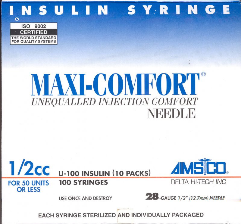 Aimsco Maxicomfort Insulin Syringe 10X10 Mfg. By Delta Hi Tech Inc