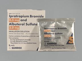 Albuterol/Ipratropium 2.5-0.5mg/3ml Ampoules 30X3 ml Unit Dose Package By Sandoz