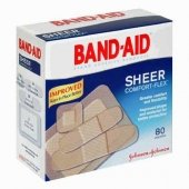 Band-Aid Adhesive Bandages Comfort-Flex Sheer Assorted 80 Ct