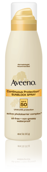 Aveeno SPF 50 Continuous Protection Sunblock Spray 5 oz