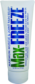 Max Freeze Gel 4 oz With Organic Ilex Aloe Arnica Vit E & Tree Tea Oil