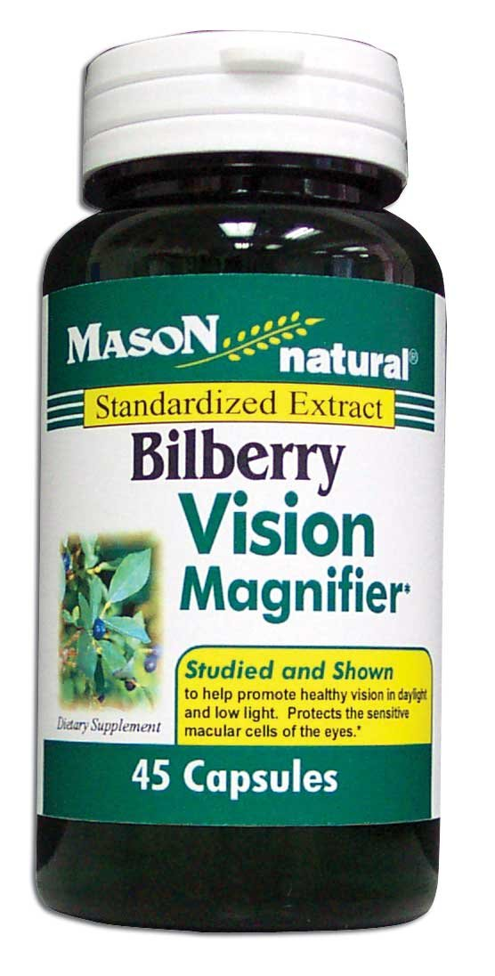 Image 0 of Bilberry Vision Magnifier Standardized Extract Dietary Supplement Capsules 45