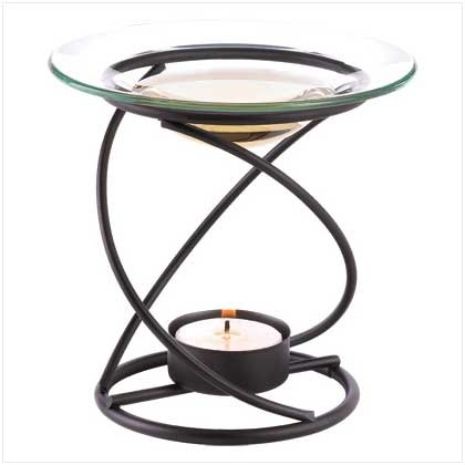 Graceful Black Spiral Oil Warmer