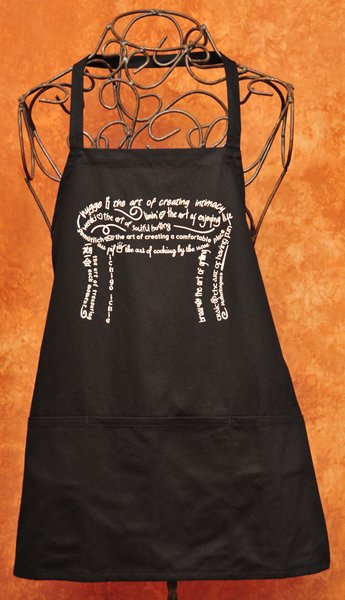Slow Food apron celebrating food and companionship  organic cotton