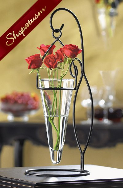 Artistic Black Metal Cone Shaped Hanging Glass Vase Floating Candle Centerpiece