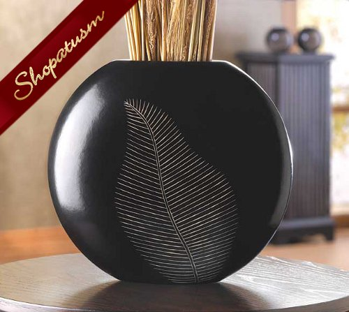 20 Circular Vases Centerpieces Decorative Artisan Leaf Black Wood