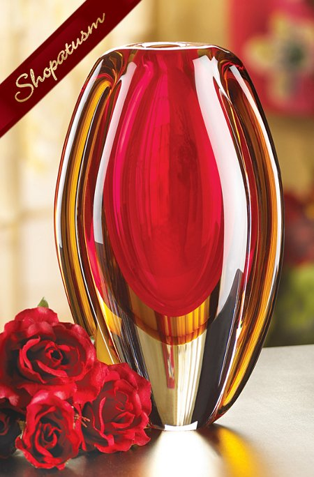 Sunfire Red and Gold Decorative Glass Vase Centerpiece