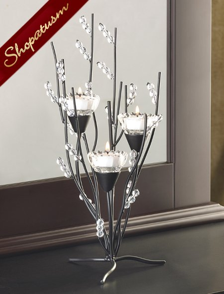 60 Black Elegant Candle Holders Crystalline Wedding Centerpieces