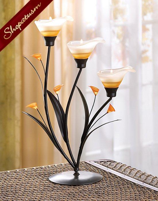 24 Wholesale Art Nouveau Amber Lilies Candelabras Centerpieces Bulk Lot